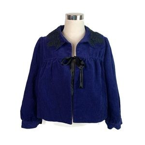 Elevenses Blue Bolero Corduroy Cropped Jacket 12